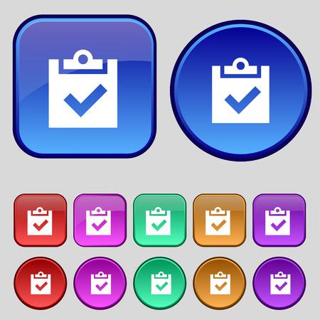 tik: Check mark, tik icon sign. A set of twelve vintage buttons for your design. illustration Stock Photo
