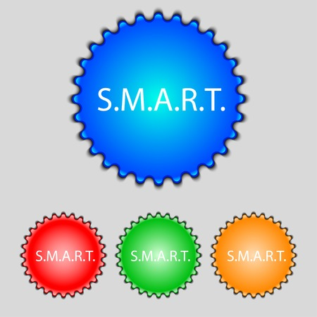 press button: Smart sign icon. Press button. Set of colored buttons. illustration Stock Photo