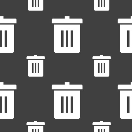 utilization: Recycle bin, Reuse or reduce icon sign. Seamless pattern on a gray background. illustration