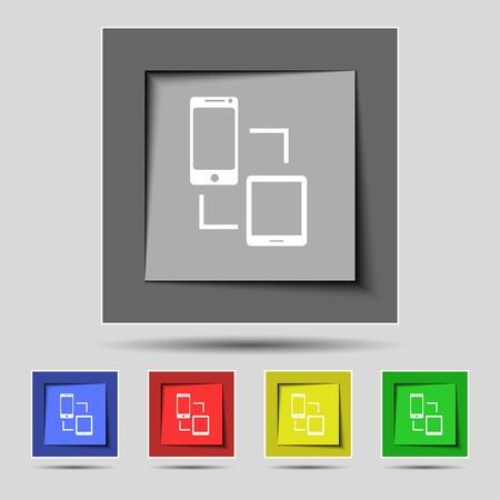 sync: Synchronization sign icon. communicators sync symbol. Data exchange. Set colur buttons illustration