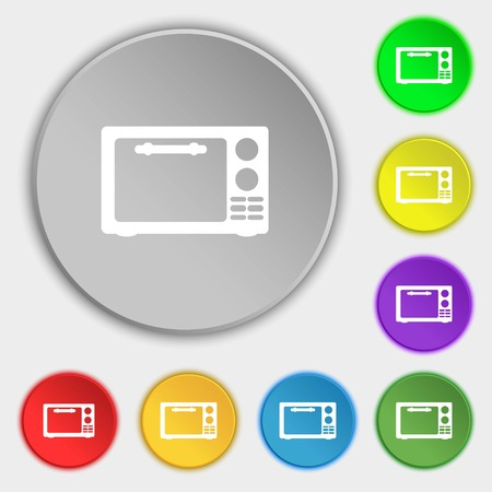 microwave stove: Microwave oven sign icon. Kitchen electric stove symbol. Symbols on eight flat buttons. illustration