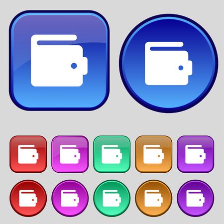 suede: purse icon sign. A set of twelve vintage buttons for your design. illustration