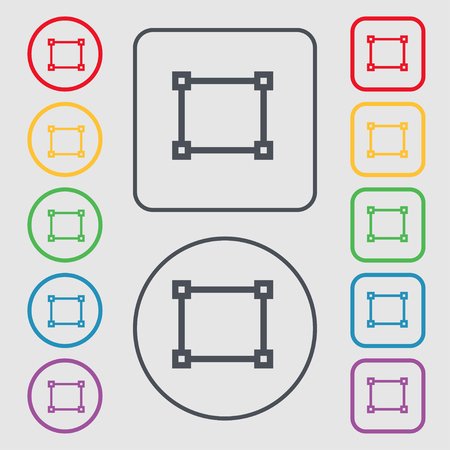 registration: Crops and Registration Marks icon sign. symbol on the Round and square buttons with frame. illustration