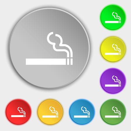 pernicious habit: cigarette smoke icon sign. Symbol on five flat buttons. illustration Stock Photo