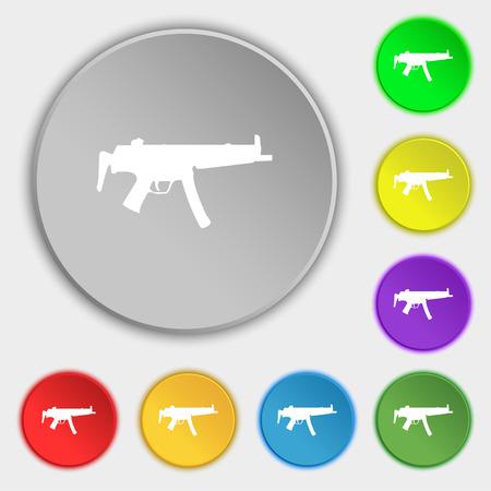 machine gun icon sign. Symbol on five flat buttons. illustration Stock Photo