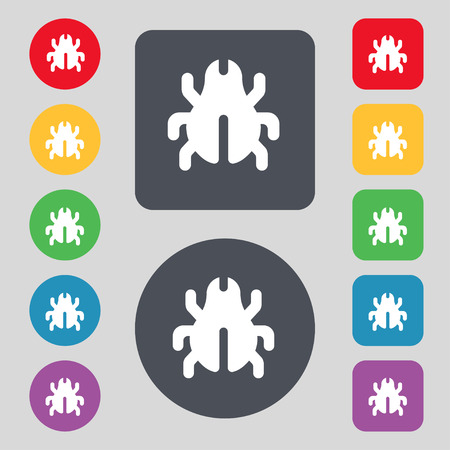 acarus: Software Bug, Virus, Disinfection, beetle icon sign. A set of 12 colored buttons. Flat design. illustration Stock Photo