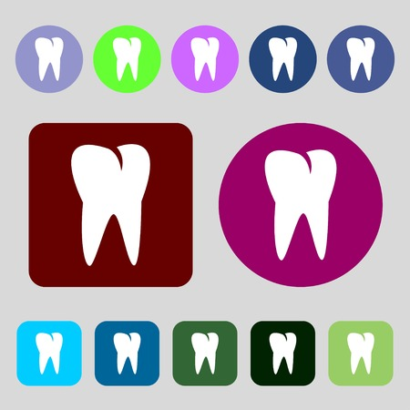 cavity braces: tooth icon.12 colored buttons. Flat design. illustration