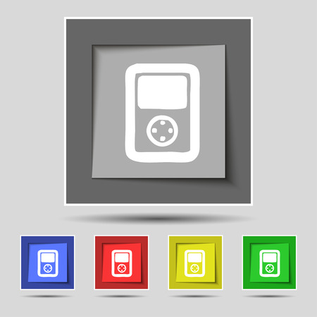 tetris: Tetris, video game console icon sign on original five colored buttons. illustration