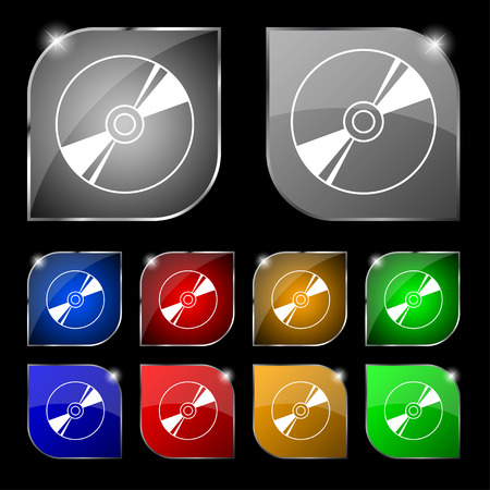 compact disk: Cd, DVD, compact disk, blue ray icon sign. Set of ten colorful buttons with glare. illustration