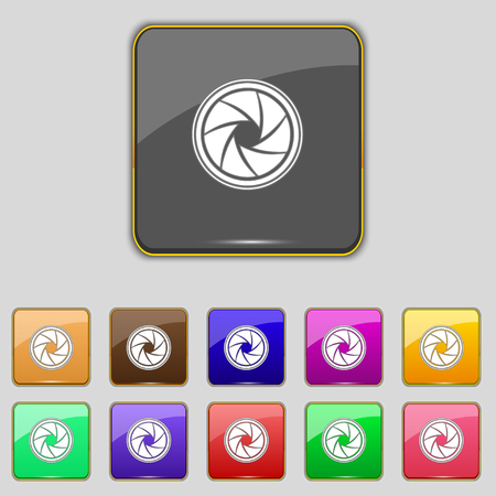 and aperture: diaphragm icon. Aperture sign. Set colourful buttons. illustration Stock Photo