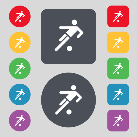 linesman: football player icon. Flat modern Set colourful web buttons. illustration
