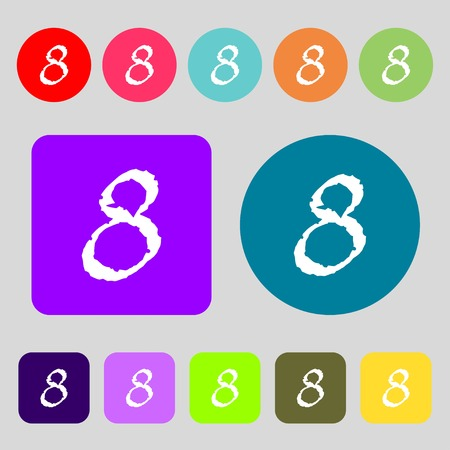 numbers background: number Eight icon sign.12 colored buttons. Flat design. illustration