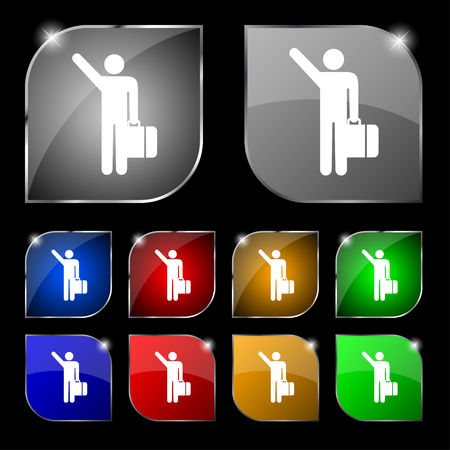tourist icon: tourist icon sign. Set of ten colorful buttons with glare. illustration