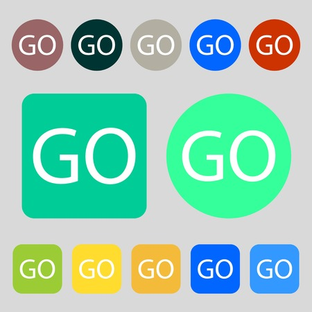 go sign: GO sign icon.12 colored buttons. Flat design. illustration