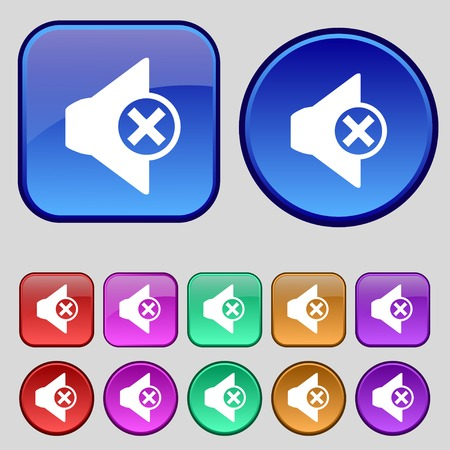 tech no: Mute speaker sign icon. Sound symbol. Set of colourful buttons. illustration