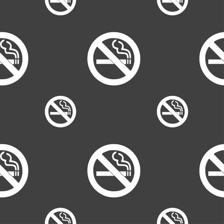 pernicious habit: no smoking icon sign. Seamless pattern on a gray background. illustration Stock Photo