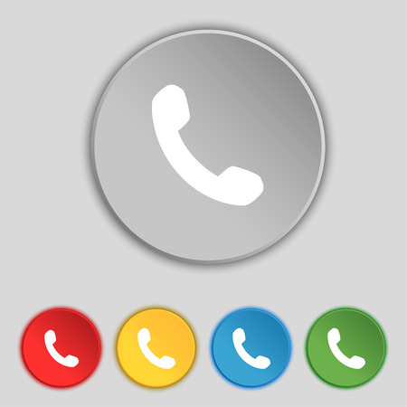phone support: Phone, Support, Call center icon sign. Symbol on five flat buttons. illustration