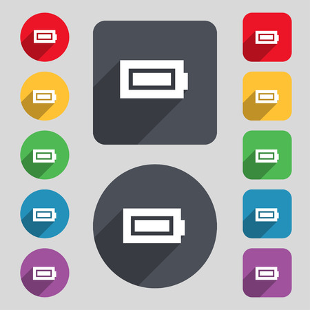 fully: Battery fully charged icon sign. A set of 12 colored buttons and a long shadow. Flat design. illustration Stock Photo