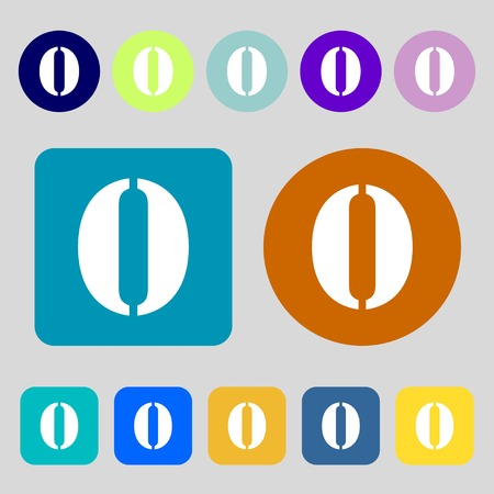 zero: number zero icon sign.12 colored buttons. Flat design. illustration Stock Photo