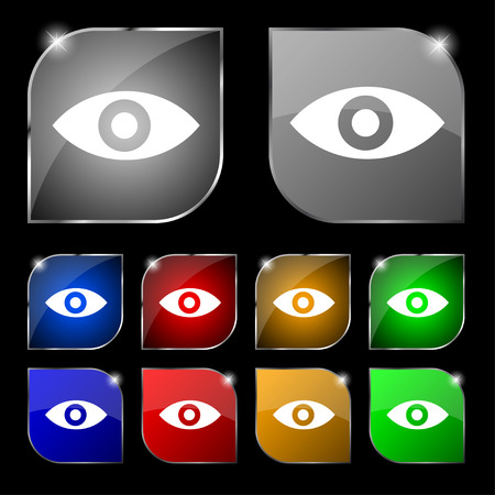 intuition: Eye, Publish content, sixth sense, intuition icon sign. Set of ten colorful buttons with glare. illustration