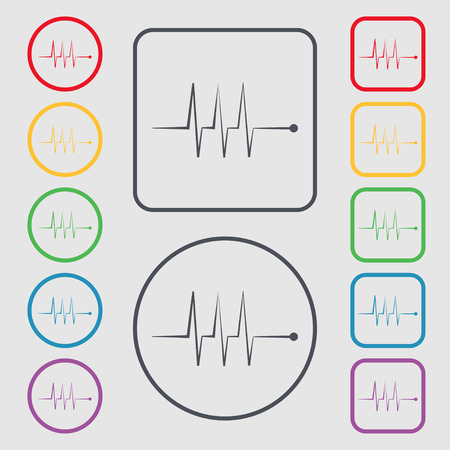 heart beats: Cardiogram monitoring sign icon. Heart beats symbol. Symbols on the Round and square buttons with frame. illustration
