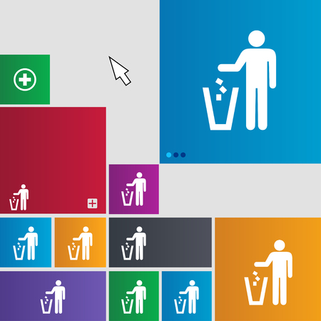 throw away the trash icon sign. buttons. Modern interface website buttons with cursor pointer. illustration