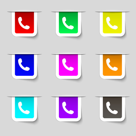 phone support: Phone, Support, Call center icon sign. Set of multicolored modern labels for your design. illustration Stock Photo