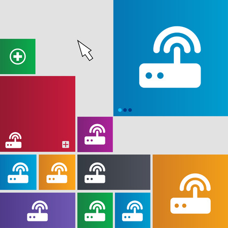 adsl: Wi fi router icon sign. buttons. Modern interface website buttons with cursor pointer. illustration