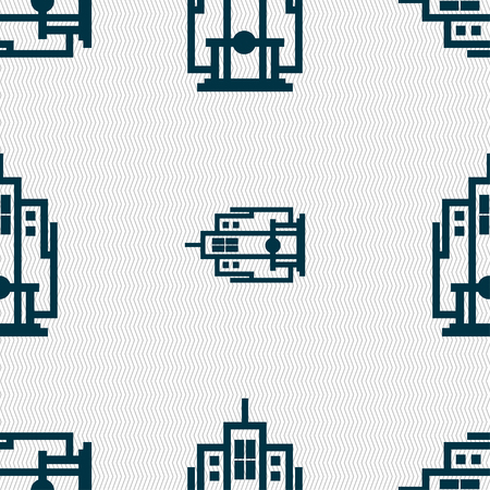 midtown: skyscraper icon sign. Seamless pattern with geometric texture. illustration Stock Photo