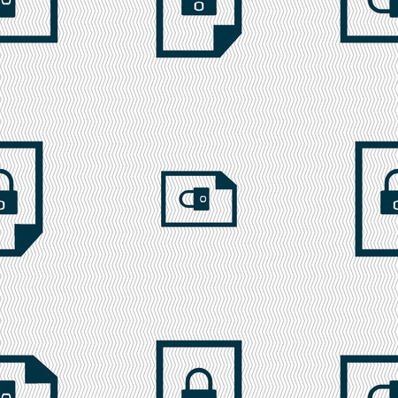 locked icon: File locked icon sign. Seamless abstract background with geometric shapes. illustration Stock Photo