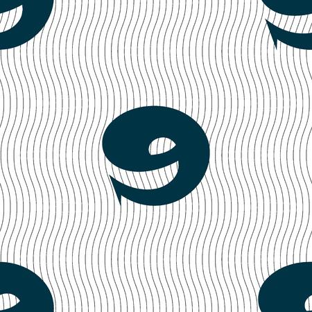 numero nueve: Número Nueve iconos de signo. Patrón sin fisuras con textura geométrica. ilustración Foto de archivo