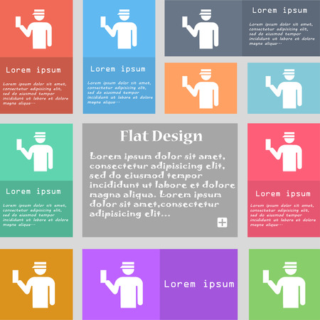 inspector: Inspector icon sign. Set of multicolored buttons with space for text. illustration Stock Photo