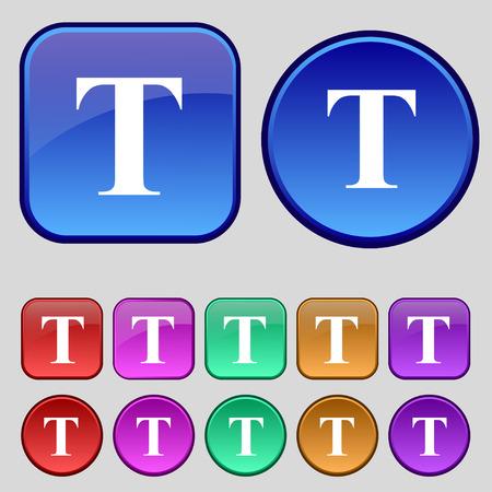 Text edit icon sign. A set of twelve vintage buttons for your design. illustration