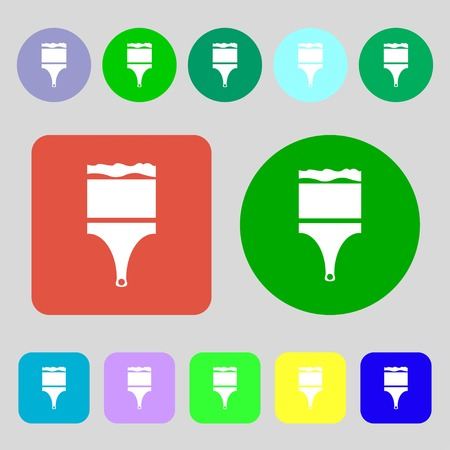 decorator: Paint brush sign icon. Artist symbol.12 colored buttons. Flat design. illustration