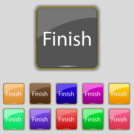 abort: Finish sign icon. Power button. Set of colored buttons. illustration Stock Photo