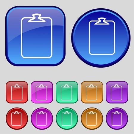 attach: File annex icon. Paper clip symbol. Attach sign. Set of coloured buttons. illustration Stock Photo