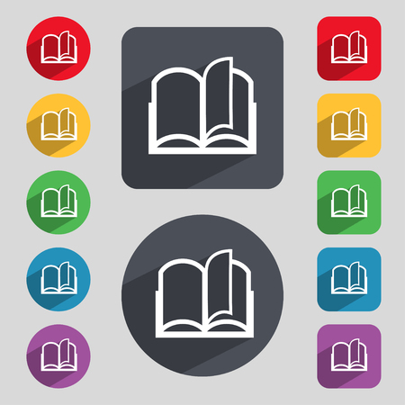 reading app: Book sign icon. Open book symbol. Set of colored buttons. illustration