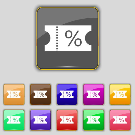 entry admission: ticket discount icon sign. Set with eleven colored buttons for your site.