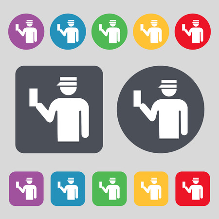inspector: Inspector icon sign. A set of 12 colored buttons. Flat design. illustration