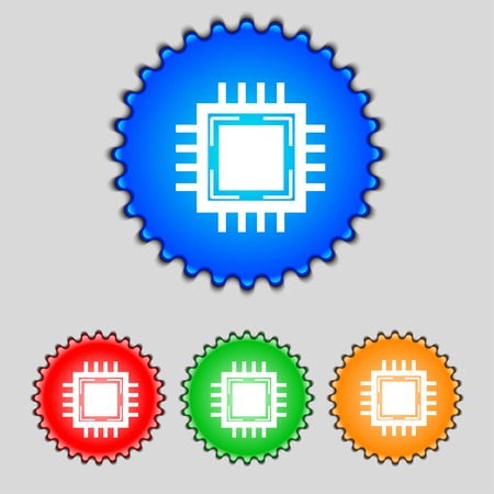 electronic components: Central Processing Unit Icon. Technology scheme circle symbol. Set colourful buttons. illustration