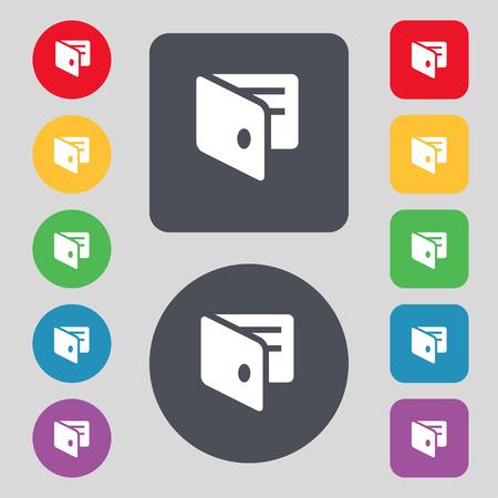 business card holder: eWallet, Electronic wallet, Business Card Holder icon sign. A set of 12 colored buttons. Flat design. illustration