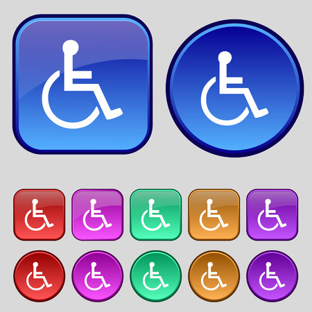 paralyze: disabled icon sign. A set of twelve vintage buttons for your design. illustration Stock Photo