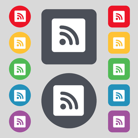 rss feed: RSS feed icon sign. A set of 12 colored buttons. Flat design. illustration