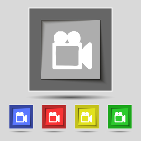 camcorder: camcorder icon sign on original five colored buttons. illustration