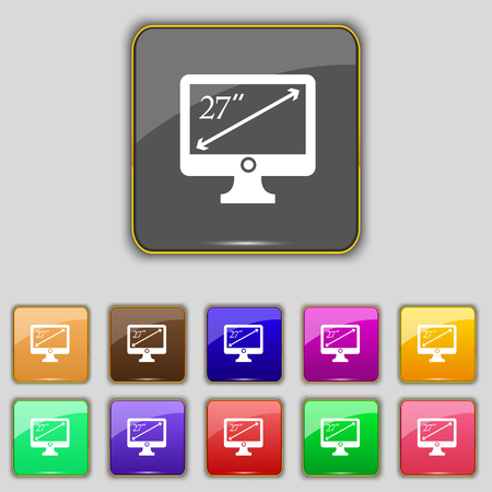 inches: diagonal of the monitor 27 inches icon sign. Set with eleven colored buttons for your site. illustration