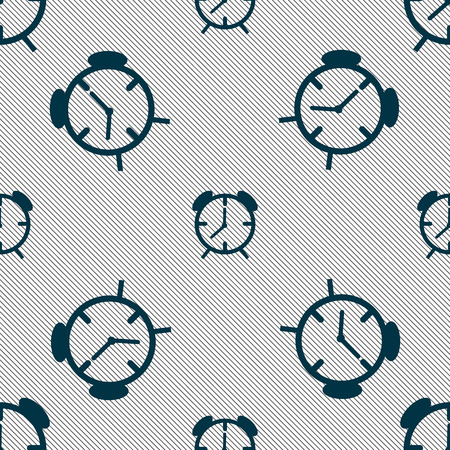 wake: Alarm clock sign icon. Wake up alarm symbol. Seamless pattern with geometric texture. illustration Stock Photo