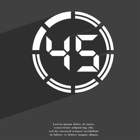 corner clock: 45 second stopwatch icon symbol Flat modern web design with long shadow and space for your text. illustration