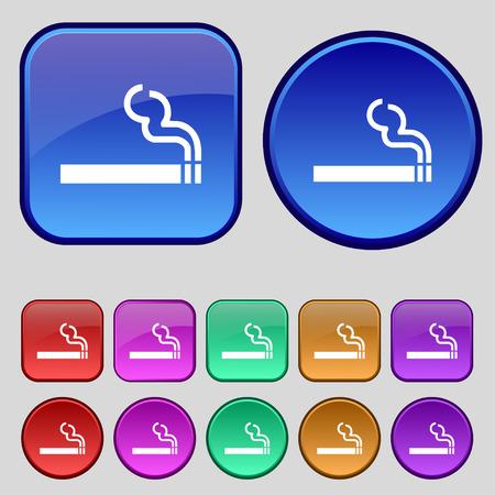 pernicious habit: cigarette smoke icon sign. A set of twelve vintage buttons for your design. illustration