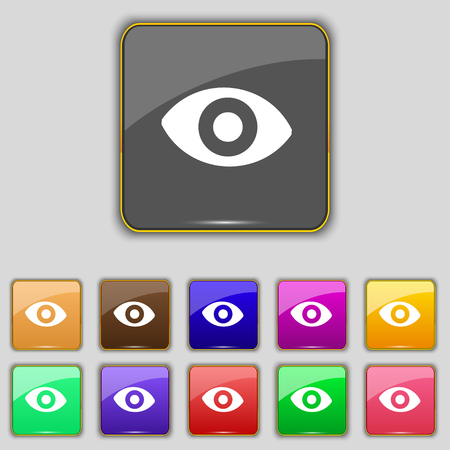 a sense of: sixth sense, the eye icon sign. Set with eleven colored buttons for your site. illustration