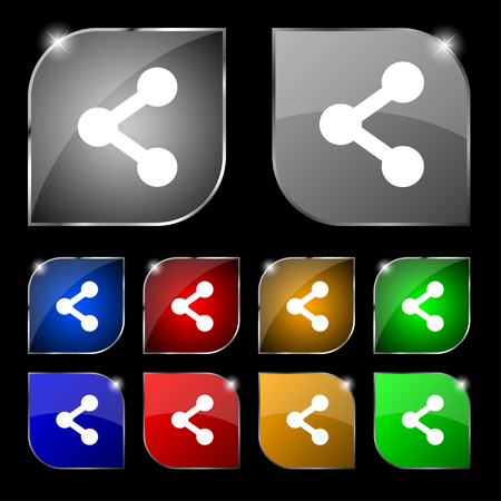 regular tetragon: Share icon sign. Set of ten colorful buttons with glare. illustration